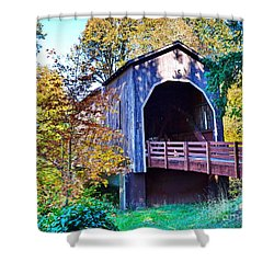 The Pass Creek Covered Brkidge Shower Curtain
