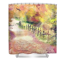 Shower Curtain featuring the painting The Path In Autumn by Wayne Pascall