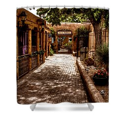 The Patio Market Shower Curtain by David Patterson