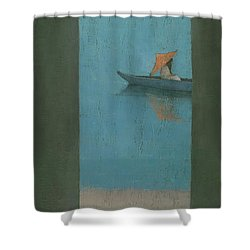 The Peach Parasol Shower Curtain by Steve Mitchell