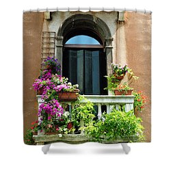 Shower Curtain featuring the photograph The Peach Wall With Fushia Flowers by Donna Corless