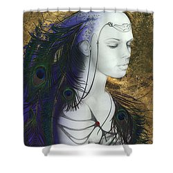Shower Curtain featuring the painting The Peacock Queen by Ragen Mendenhall