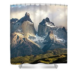 The Peaks At Sunrise Shower Curtain by Andrew Matwijec