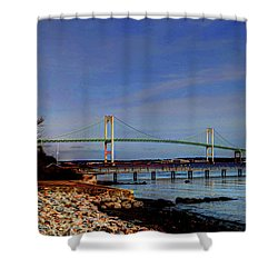 Shower Curtain featuring the photograph The Pell Bridge Newport Ri by Tom Prendergast
