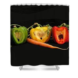 The Pepper Trio Shower Curtain by Carol Milisen