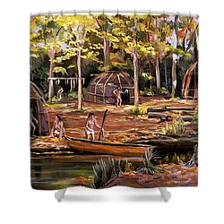 Shower Curtain featuring the painting The Pequots by Nancy Griswold