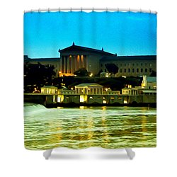 The Philadelphia Art Museum And Waterworks At Night Shower Curtain by Bill Cannon