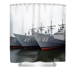 Shower Curtain featuring the photograph The Philadelphia Navy Yard by Bill Cannon