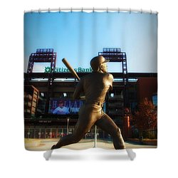 The Phillies - Mike Schmidt Shower Curtain by Bill Cannon