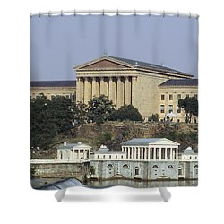 The Philly Art Museum And Waterworks Shower Curtain by Bill Cannon