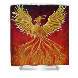 The Phoenix Shower Curtain by Teresa Wing