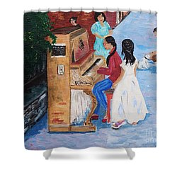 The Piano Player Shower Curtain
