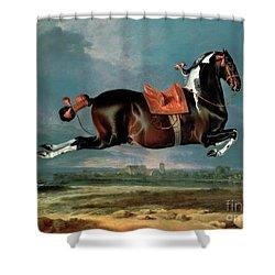 The Piebald Horse Shower Curtain by Johann Georg Hamilton