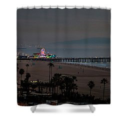 The Pier After Dark Shower Curtain