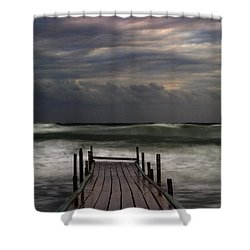 The Pier...ayia Napa Shower Curtain by Stelios Kleanthous