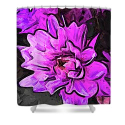 The Pink And Lavender Flowers On The Grey Surface Shower Curtain