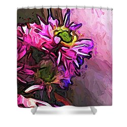 The Pink And Purple Flower By The Pale Pink Wall Shower Curtain