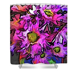 The Pink And Purple Flowers In The Red And Blue Vase Shower Curtain