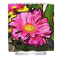 The Pink And Yellow Flowers With The Big Green Leaves Shower Curtain