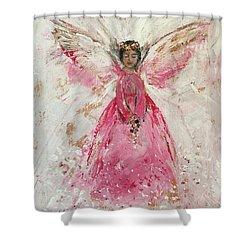 The Pink Angel  Shower Curtain by Jun Jamosmos