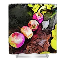 The Pink Apples In A Curve With The Yellow Lemons Shower Curtain
