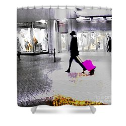 Shower Curtain featuring the photograph The Pink Bag by LemonArt Photography