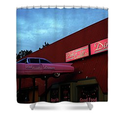 The Pink Cadillac Diner Shower Curtain
