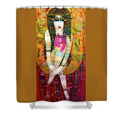 The Pink Cat Angel Shower Curtain