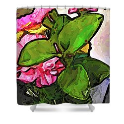 The Pink Flowers Behind The Green Leaves Shower Curtain
