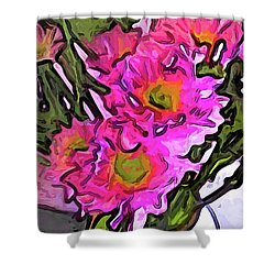 The Pink Flowers In The White Vase Shower Curtain