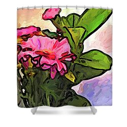The Pink Flowers On The Left With The Green Leaves Shower Curtain