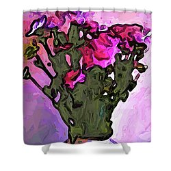 The Pink Flowers With The Long Stems In The Vase Shower Curtain
