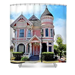 The Pink Gingerbread House In Eureka Shower Curtain