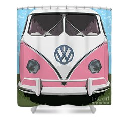 The Pink Love Bus Shower Curtain by Bruce Stanfield