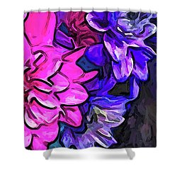 The Pink Petals With The Purple And Blue Flowers Shower Curtain