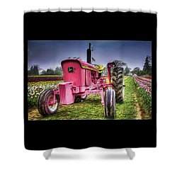 Shower Curtain featuring the photograph The Pink Tractor At The Wooden Shoe Tulip Farm by Thom Zehrfeld