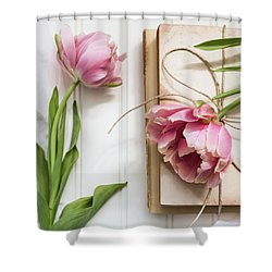 Shower Curtain featuring the photograph The Pink Tulips by Kim Hojnacki