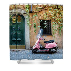 The Pink Vespa Shower Curtain by Al Hurley
