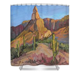 Shower Curtain featuring the painting The Pinnacle At Goldfield Mountains by Diane McClary