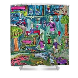 The Playground Shower Curtain by Brandon Drucker