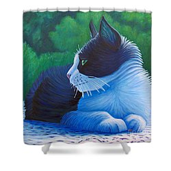 The Pleasure Of Her Company Shower Curtain by Brian  Commerford