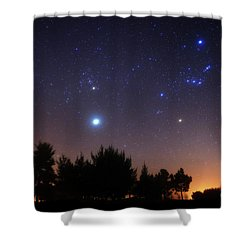 Shower Curtain featuring the photograph The Pleiades, Taurus And Orion by Luis Argerich