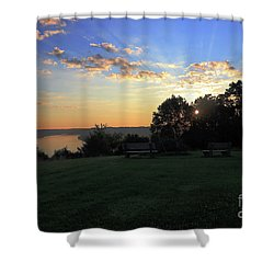 The Point At Sunrise Shower Curtain