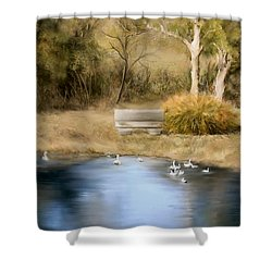 Shower Curtain featuring the painting The Pond by Bonnie Willis