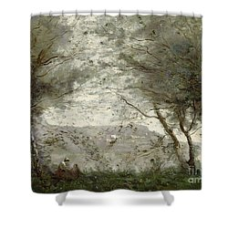The Pond Shower Curtain by Jean Baptiste Corot