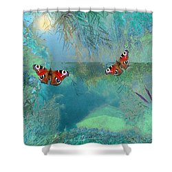 Shower Curtain featuring the painting The Pond by Valerie Anne Kelly