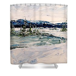 The Pond - Winter Shower Curtain