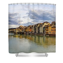 Shower Curtain featuring the photograph The Ponte Vecchio And Florence by Wade Brooks