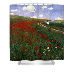 The Poppy Field Shower Curtain by Pal Szinyei Merse