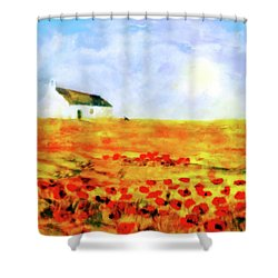 Shower Curtain featuring the painting The Poppy Picker by Valerie Anne Kelly